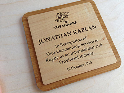 Engraved Wood Awards Plaque
