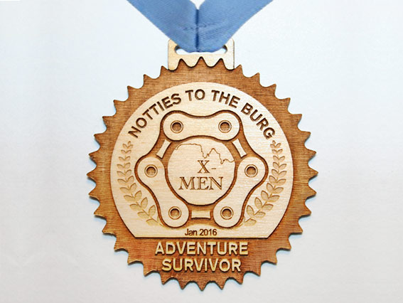 Event awards medal with a rustic look - wood engraved wood