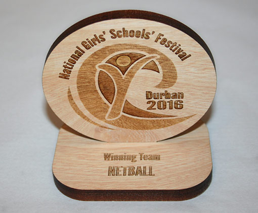 Unique Event Engraved Trophy in Wood