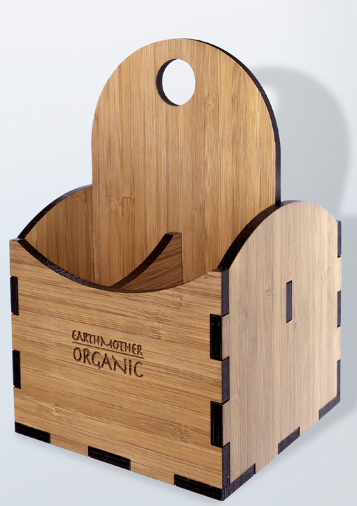 Wood Condiment Carrier in Rustic Bamboo