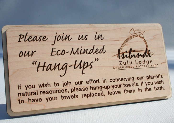 Conserve Water Hang Up Towel Sign in Wood