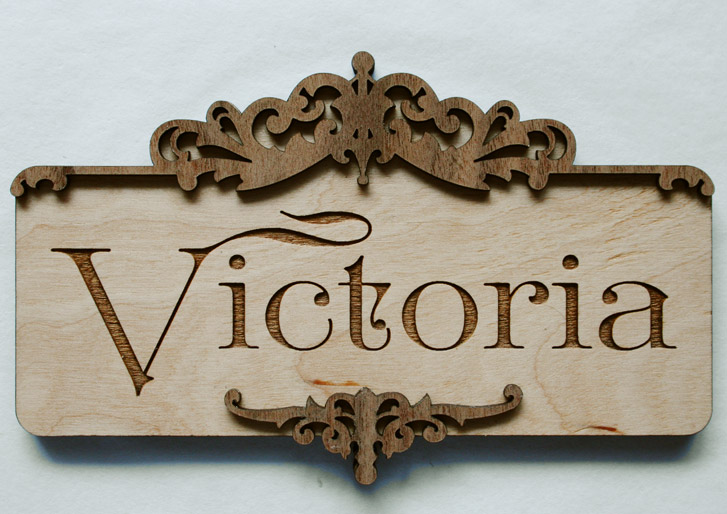 Ornate Antique Custom Wood Door Sign