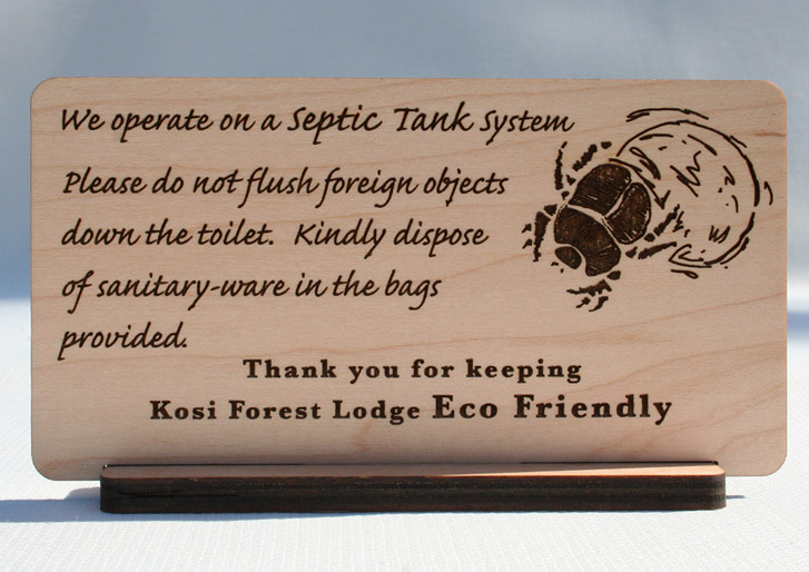 Eco Friendly Lodge Septic Tank Wood Sign