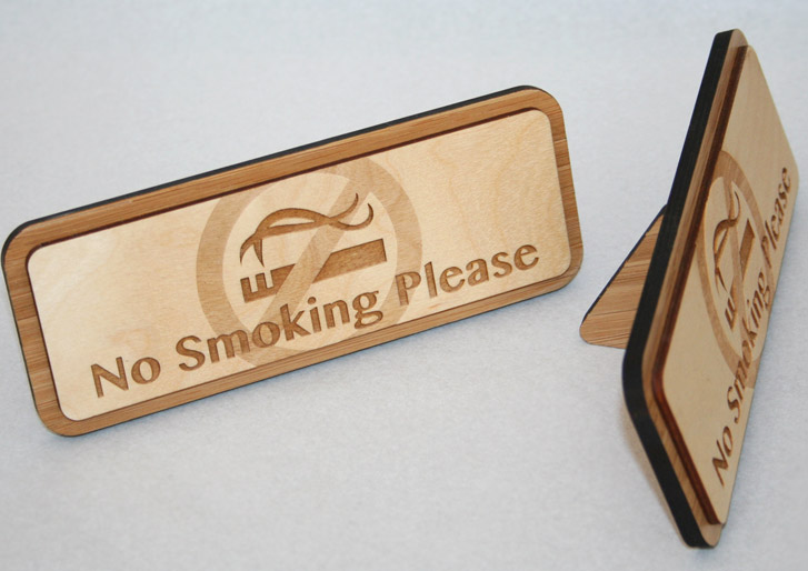 No Smoking Sign engraved on Birch Wood with a Bamboo stand