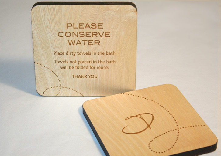 Wood Conserve Water Sign for Eco-Friendly Lodge
