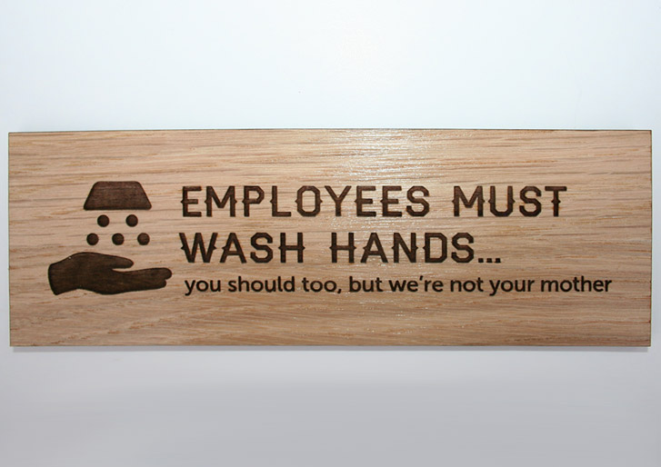 Rustic Oak Wood Employee Wash Hand Sign Humorous