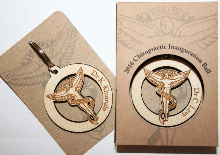 Custom Chiropractic Wooden Key Chain for Inauguration Event